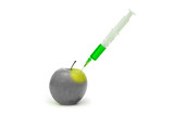 genetic modification apple with syringe poster