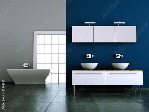 wohndesign bad blau mit steinboden von virtua73 lizenzfreies foto 32803327 auf. Black Bedroom Furniture Sets. Home Design Ideas