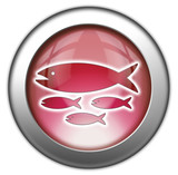 """Red glossy 3D effect button """"Fish Hatchery"""""""
