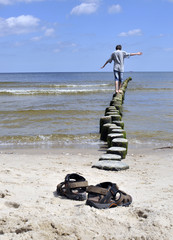 Balance Buhne Junge Meer