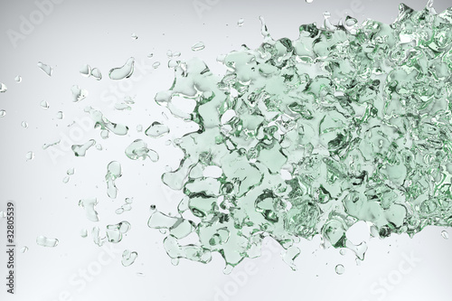 Green water on white background