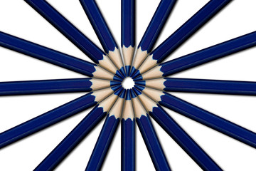 A circle of blue pencils