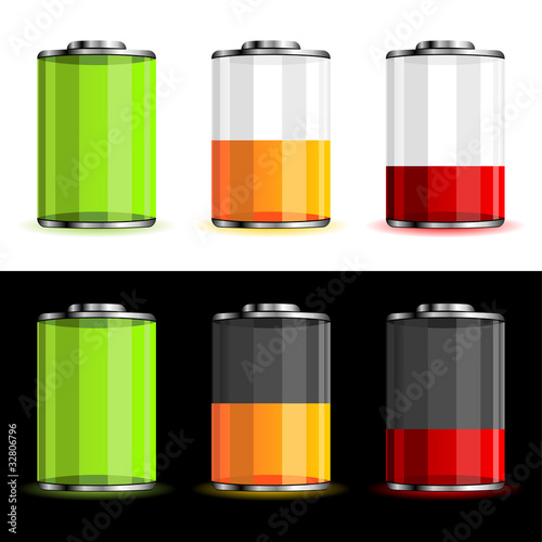 Batteries with different charge levels over black and white
