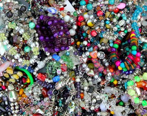 colorful jewellery mixed mess in a retail market