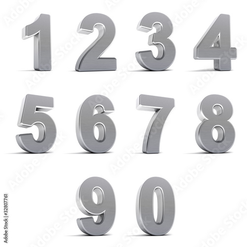 Set of chrome numbers over white background