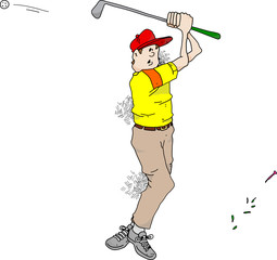 Cartoon image of a very bad golfer.