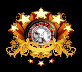 Roulette insignia on black