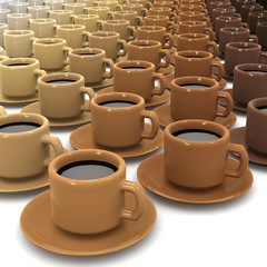 3d Lots of cups of coffee