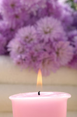 Spa set – pink flowers and aroma candles,