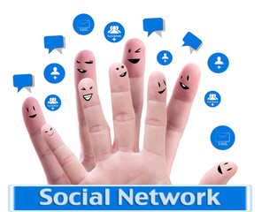 Social network concept of Happy group of finger faces
