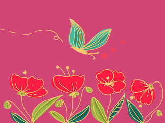 papaveri e farfalla paesaggio