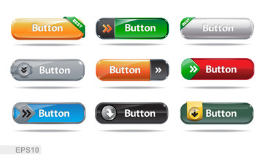 Web buttons collection. Blank buttons. EPS10