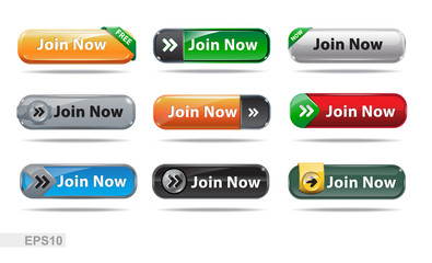 Web buttons collection. Join now. EPS10