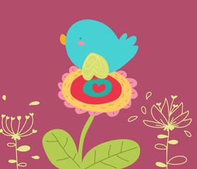 uccellino su fiore