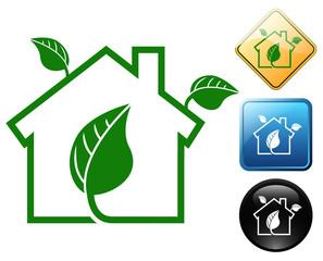 Green home pictogram and signs