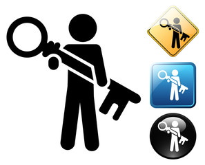 Login pictogram and signs