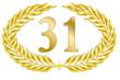 jubiläum 31 button lorbeer schleife geburtstag gold