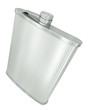 Hip flask isolated on white background. 3D render.