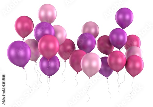 3d purple ballons