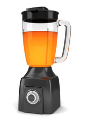 modern black blender with orange juice isolated on white