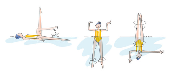sequences of a woman practicing synchronized swimming