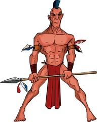 Cartoon Mohawk warrior with a spear