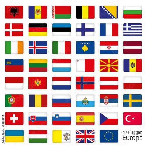 Europa Flaggen Fahnen Set Buttons Icons Sprachen 2