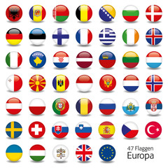 Europa Flaggen Fahnen Set Buttons Icons Sprachen 5