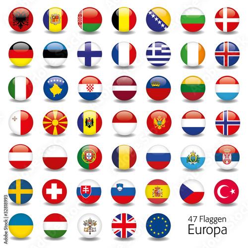 Europa Flaggen Fahnen Set Buttons Icons Sprachen 5