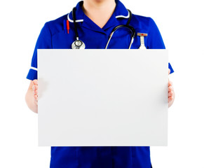nurse holding blank card