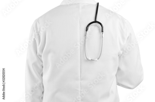 stethoscope over doctors back