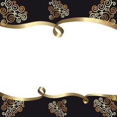 fond carte noir et blanc avec ruban et arabesques or