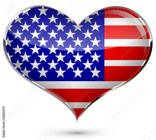 heart with the flag of USA isolated on a white background