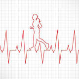 Electrocardiogram of a woman running # Vector