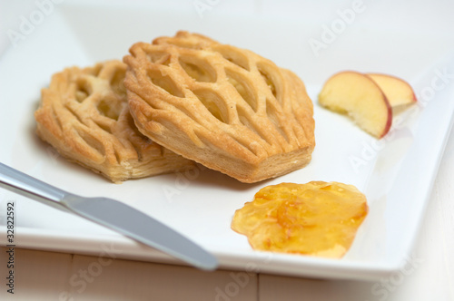 danish apple pastry, apple slice and gem on the plate