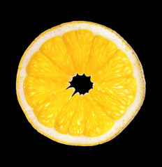 single slice of orange isolated on black