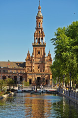 One of the towers Of The Plaza De Espana - Seville - Spain
