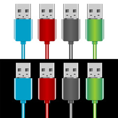 USB plugs with different colors over black and white