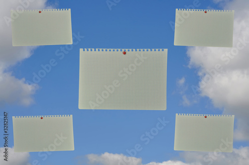 notebook paper with blue skies, messages from heaven
