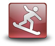 "Red 3D Effect Icon ""Snowboarding"""