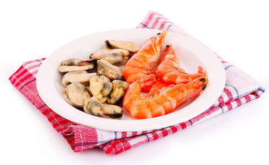 Cooked shelled tiger shrimp and mussels isolated on white