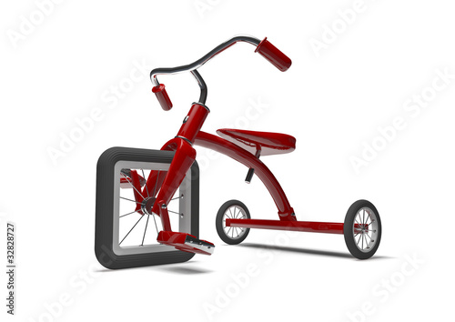 Red tricycle with slight design flaw