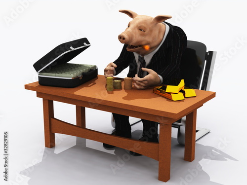 Pig in suit counts his wealth – metaphor for greed