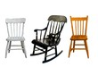 three childrens chairs on a white background