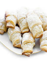 Small croissants with sugar powder