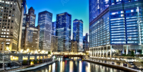 Foto Spatwand Grote meren Chicago Financial District
