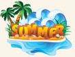Tropical summer banner, vector illustration
