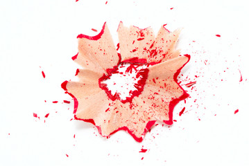 Red pencil shavings