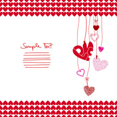 Red & Pink Hanging Hearts Border