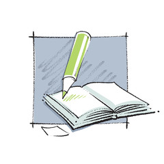 Open book icon with a pencil (simple linear drawing)